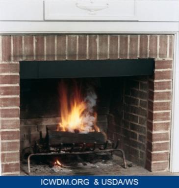Glowing fire in fireplace