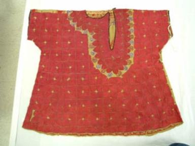 Green silk blouse with red embroidery